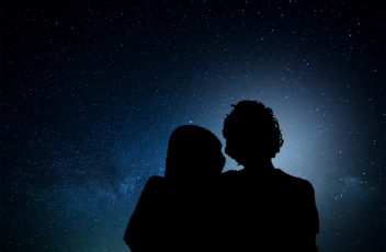 Romantic couple watching the stars